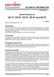 Serial Protocol of VZ-17, VZ-27, VZ-37, VZ-47 and VZ-57 - WolfVision