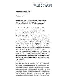 walimex pro präsentiert lichtstarkes Video-Objektiv für Dslr-Kameras