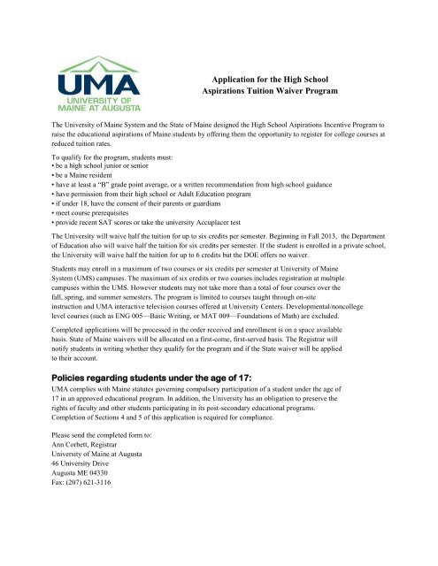 University Of Maine Tuition >> Application For The High School Aspirations Tuition Waiver