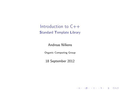 Introduction To C Standard Template Library