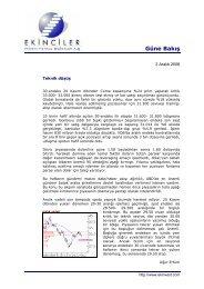Güne Bakış - Ekinciler Yatırım Menkul Değerler A.ş