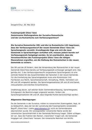 Sevgein/Chur, 30. Mai 2013 Fusionsprojekt Glion ... - Lia Rumantscha