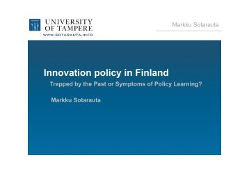 Innovation policy in Finland - Globelics Academy
