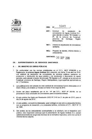 ANT.: Solicitud de ampliación de concesiones de Aguas ... - Siss