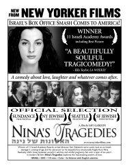 WINNER 11 Israeli Academy Awards including ... - New Yorker Films