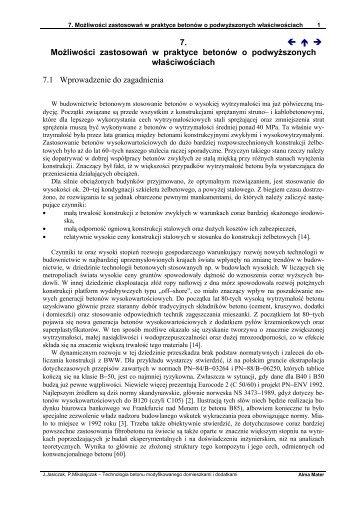 7. ← ↑ → Możliwości zastosowań w praktyce betonów o ...