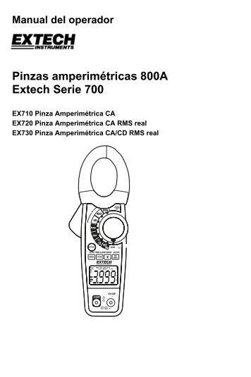 Manual del operador Pinzas amperimétricas 800A Extech Serie 700