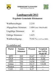Landtagswahl 2013 - Gemeinde Elixhausen