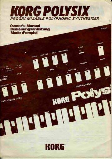 Korg Polysix Owners Manual - Audiofanzine