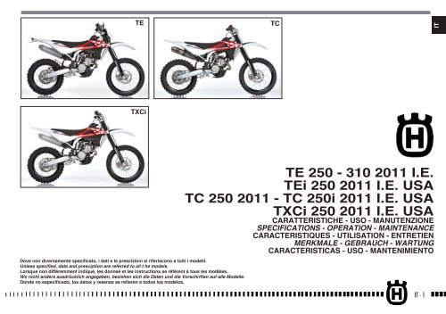 Owner's Manual 2011 TE/TC/TXC 250/310 - Husqvarna