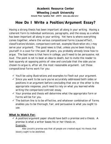 Position Argument Essay Reportwebfccom Position Argument Essay