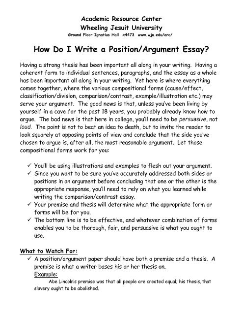 Persuasive Essays For High School  English Essay Topics For Students also English Essays On Different Topics How Do I Write A Positionargument Essay  Wheeling Jesuit  Example Of Thesis Statement In An Essay