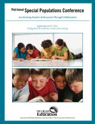 First Annual Special Populations Conference - Michigan Institute for ...