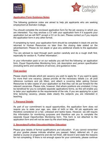 Application Form Guidance Notes The following guidance ... - Eteach