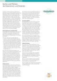 Rechte und Pflichten der Patientinnen und Patienten - Klinik Linde