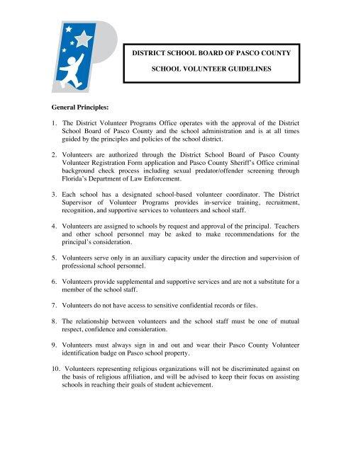 12-13 Volunteer Guidelines copy - Pasco County Schools