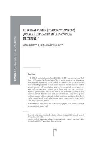 el zorzal común (turdus philomelos) - Revista Teruel - Instituto de ...