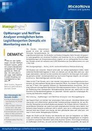 Jetzt die Dematic Case Study als PDF laden - ManageEngine
