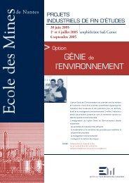'option Génie de l'Environnement - Ecole des mines de Nantes
