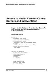 Access to Health Care for Carers: Barriers and ... - NETSCC