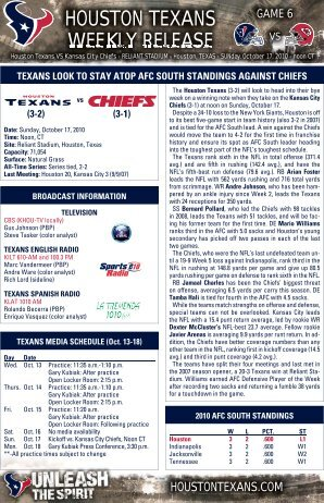 HOUSTON TEXANS WEEKLY RELEASE - Texans Home - NFL.com
