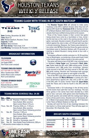 HOUSTON TEXANS WEEKLY RELEASE - Houston Texans - NFL.com
