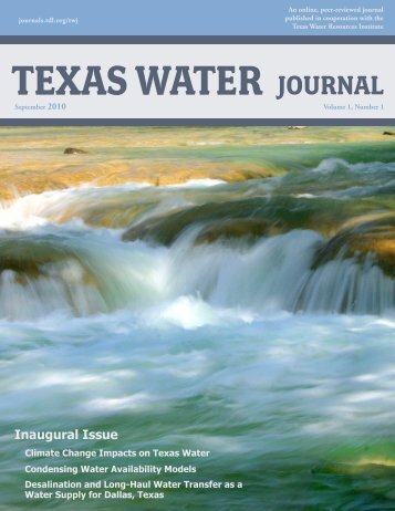 texas water journal - Environmental Science Institute - The ...