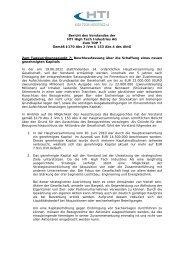 Bericht des Vorstandes zum Bezugsrechtsausschluss hinsichtlich ...