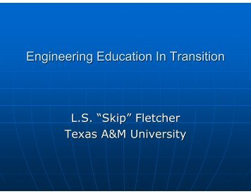 Engineering Education In Transition