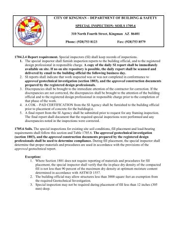SPECIAL INSPECTION: SOILS SECTION 1704 - City of Kingman