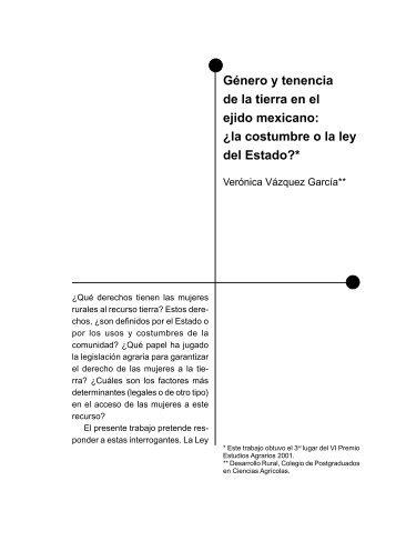 Género y tenencia de la tierra en el ejido mexicano