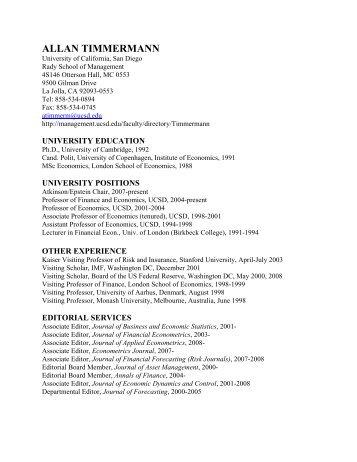 ALLAN TIMMERMANN - Rady School of Management