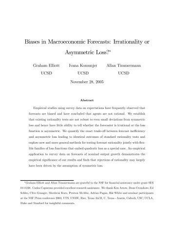 Biases in Macroeconomic Forecasts: Irrationality or ... - CiteSeerX