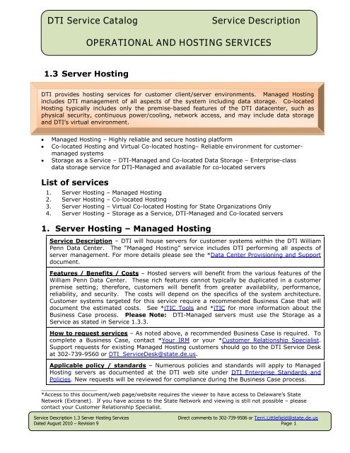 Server Hosting, Managed and Co-Located - Delaware's Department ...