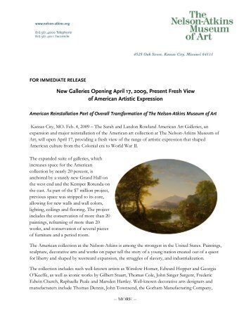 FOR IMMEDIATE RELEASE - The Nelson-Atkins Museum of Art
