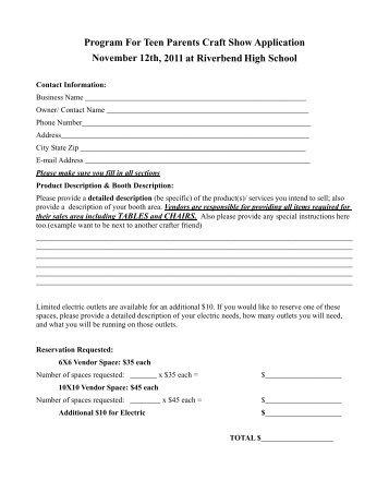 Craft fair vendor application form science with a mission for Craft fair application template