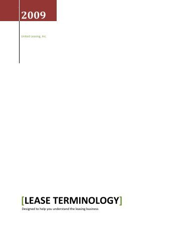 Lease terminology - United Leasing, Inc.