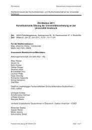 ÖH-Wahlen 2011 Konstituierende Sitzung der Universitätsvertretung ...