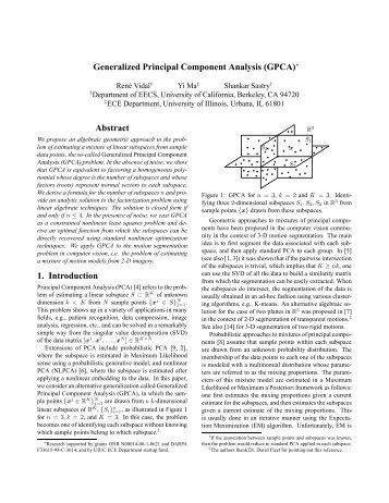 Generalized Principal Component Analysis (GPCA)∗ Abstract 1 ...