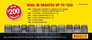 mail-in rebates up to 200 - Pirelli