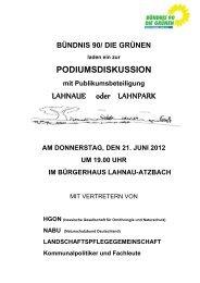 AM DONNERSTAG, DEN 21. JUNI 2012 UM ... - der Grünen Lahn-Dill