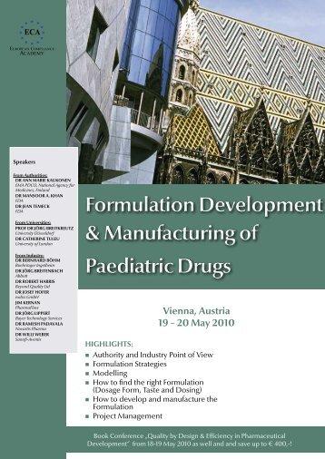 Formulation Development & Manufacturing of Paediatric Drugs ...