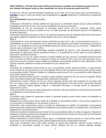 HOTĂRÂRE nr. 1395 din 28 decembrie 2010 privind finanţarea ...