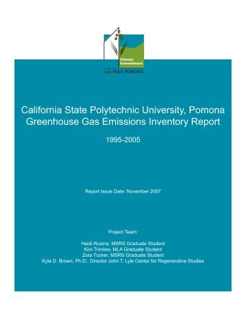 Greenhouse Gas Emissions Inventory Report - Cal Poly Pomona
