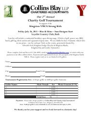 Our 2nd Annual Charity Golf Tournament - Kingston Family YMCA