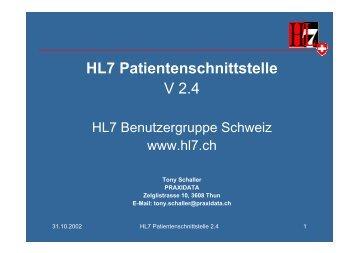 2002 Patientenschnittstelle 2.4 - HL7