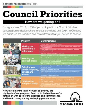 How are we getting on? - Waltham Forest Council