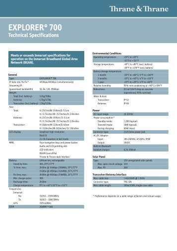 EXPLORER 700 Technical Specifications