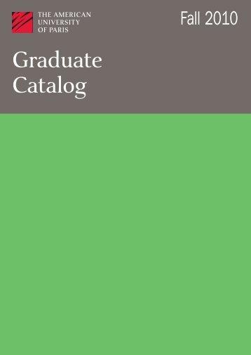 Grad Catalog June 2010.pdf - The American University of Paris