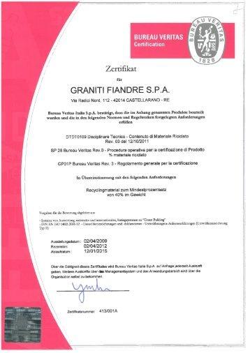 LEED-BREEAM Konformitätszertifikat - Granitifiandre Spa